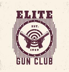 Gun club vintage emblem print with pistols vector