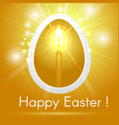 happy easter egg with a candle on gold background vector image vector image