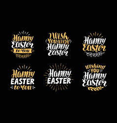 happy easter greeting card holiday label symbol vector image