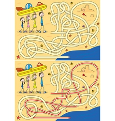 Happy family maze vector image vector image