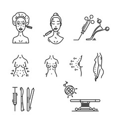 line icons plastic surgery aesthetic medicine vector image