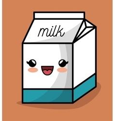 milk box kawaii happy icon design vector image