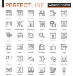 Seo and development thin line web icons set vector