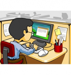 working in front computer vector image vector image