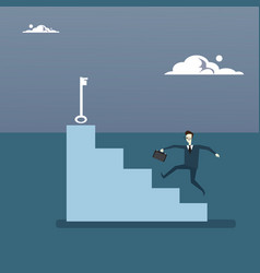 businessman climb stairs up to key business man vector image