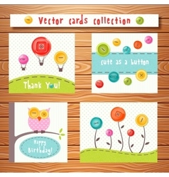 cards collection with cute buttons Perfect vector image vector image