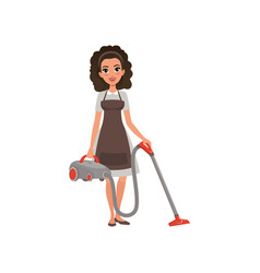 cartoon character of hotel maid with vacuum vector image