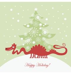 cute dragon christmas card vector image