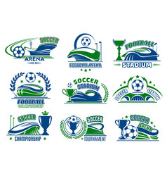 football isolated icons for soccer sport vector image