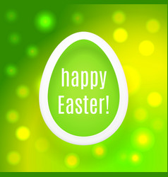 Happy easter egg on green background with bokeh vector