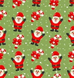 Seamless Christmas pattern with Santa Claus snow vector image