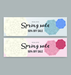 spring sale flyer or voucher design set vector image vector image