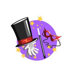 symbols of the magician profession black top hat vector image