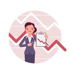 Businesswoman with clipboard Negative charts and vector image