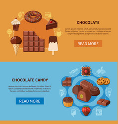 chocolate products flat banners vector image vector image
