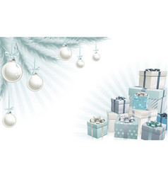 christmas silver blue corner elements vector image vector image