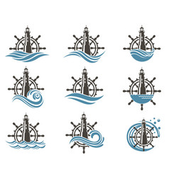 icons set of helm and lighthouse vector image vector image