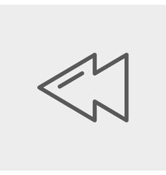 Rewind button thin line icon vector image