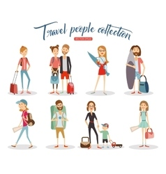 Travel people cartoon collection vacation people vector image