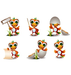 cute baby parrots cartoon set vector image