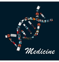 DNA helix symbol made up of medical sketch icons vector image