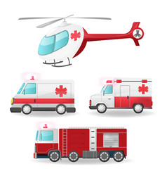 emergency vehicles isolate collection set vector image