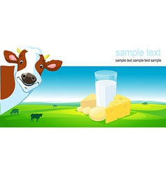 horizontal design with cow dairy product and vector image