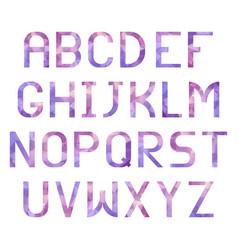 Latin alphabet with triangular purple texture vector