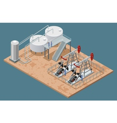 Oil Production Facilities Isometric Poster vector image vector image