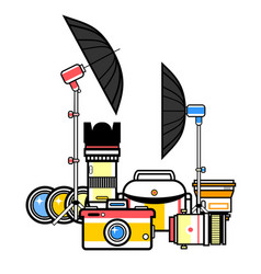 photographer kit camera elements vector image