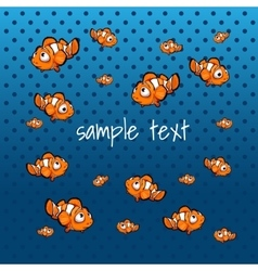 Striped orange fish on a blue background vector image