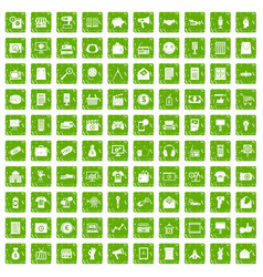 100 marketing icons set grunge green vector