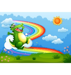 A rainbow in the sky with a green crocodile vector image vector image