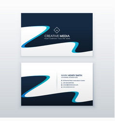 abstract wavy blue business card design vector image