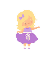 Adorable blonde little girl in purple dress vector