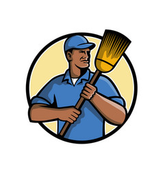 African american street sweeper or cleaner mascot vector