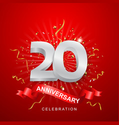 anniversary celebration with gold confetti on red vector image