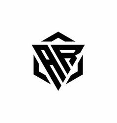 Ar logo monogram with triangle and hexagon modern vector