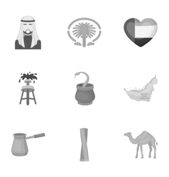 Arab Emirates set icons in monochrome style Big vector image