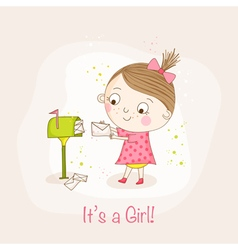 Baby girl with mail - shower or arrival card vector