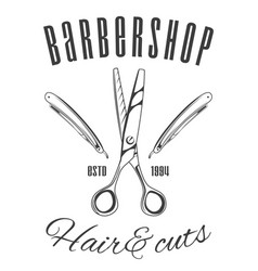 barbershop scissors and razor blades hair and vector image