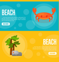 beach website template set horizontal banners vector image