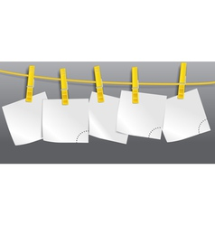 Blank paper sheets on rope vector image