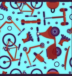 bright pattern with teenager bikes and scooters vector image