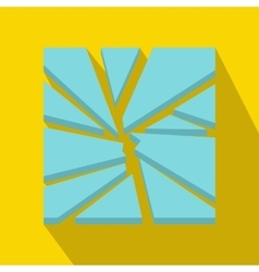 Broken glass icon flat style vector