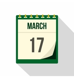Calendar with St Patrick Day date icon flat style vector