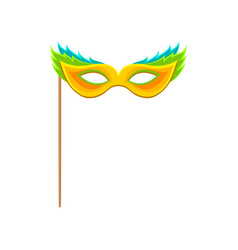 carnival mask with stick celebration party symbol vector image