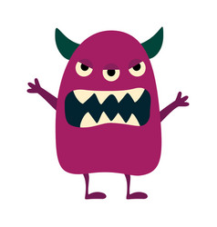 cartoon flat monsters big icon colorful kid toy vector image