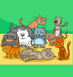 Cats characters group cartoon vector