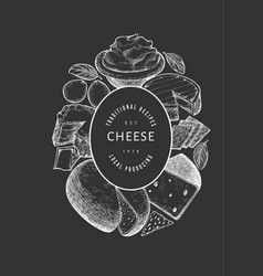 Cheese design template hand drawn dairy on chalk vector